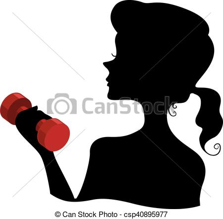 450x441 Silhouette Girl Dumbbell. Illustration Featuring The Vectors