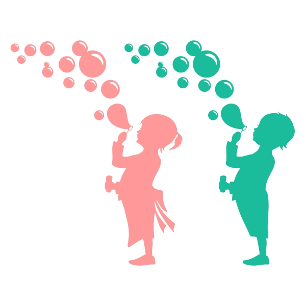 600x600 Baby Girl And Boy Blowing Bubbles Cuttable Design Cut File. Vector