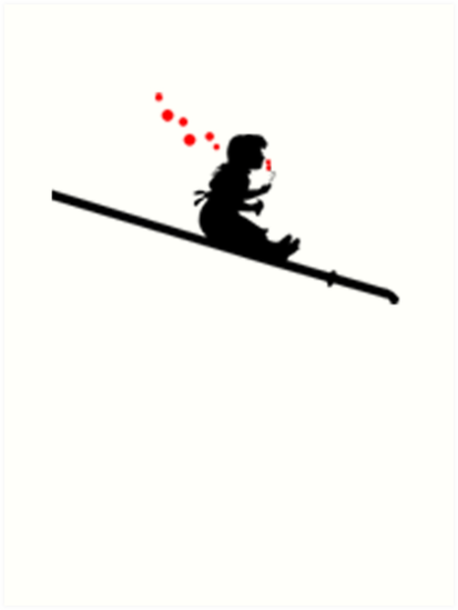 413x549 Banksy's Inspired Girl Sliding Down A Pipe Blowing Bubbles Art