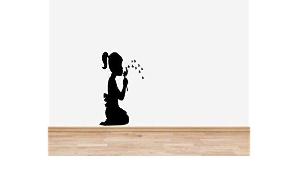 600x350 Banksy Style Girl Blowing Dandelion Silhouette Vinyl Wall Art