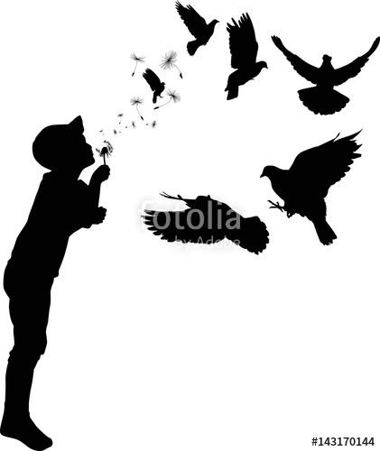 421x500 Child Blowing On Black Dandelion Flying Doves Stock Image