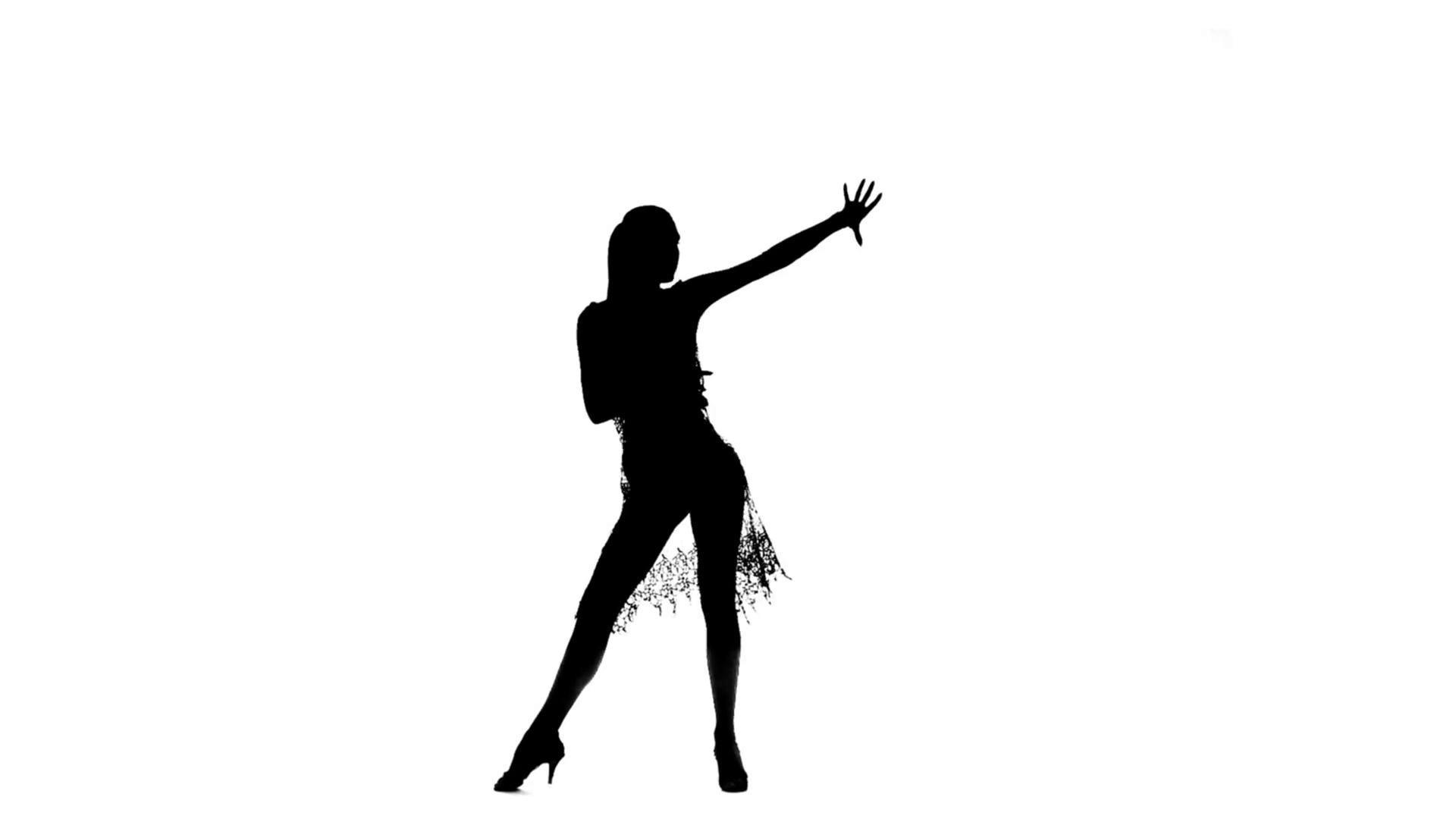 1920x1080 Woman Solo Dancing Elements Of Ballroom Dancing. Black Silhouette