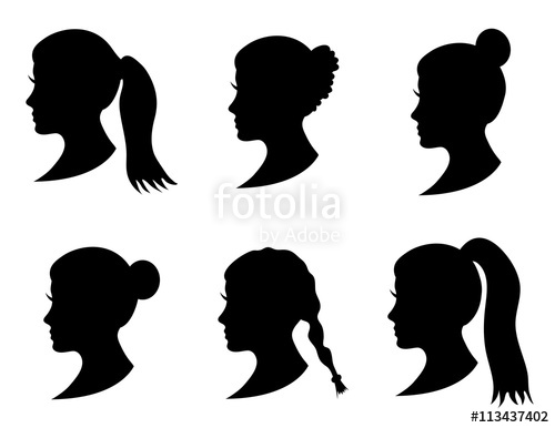 500x386 Set Of Black Silhouette Girl Head With Different Hairstyle Tail