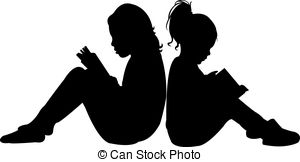 300x162 Child Reading The Book, Silhouette Clipart Vector