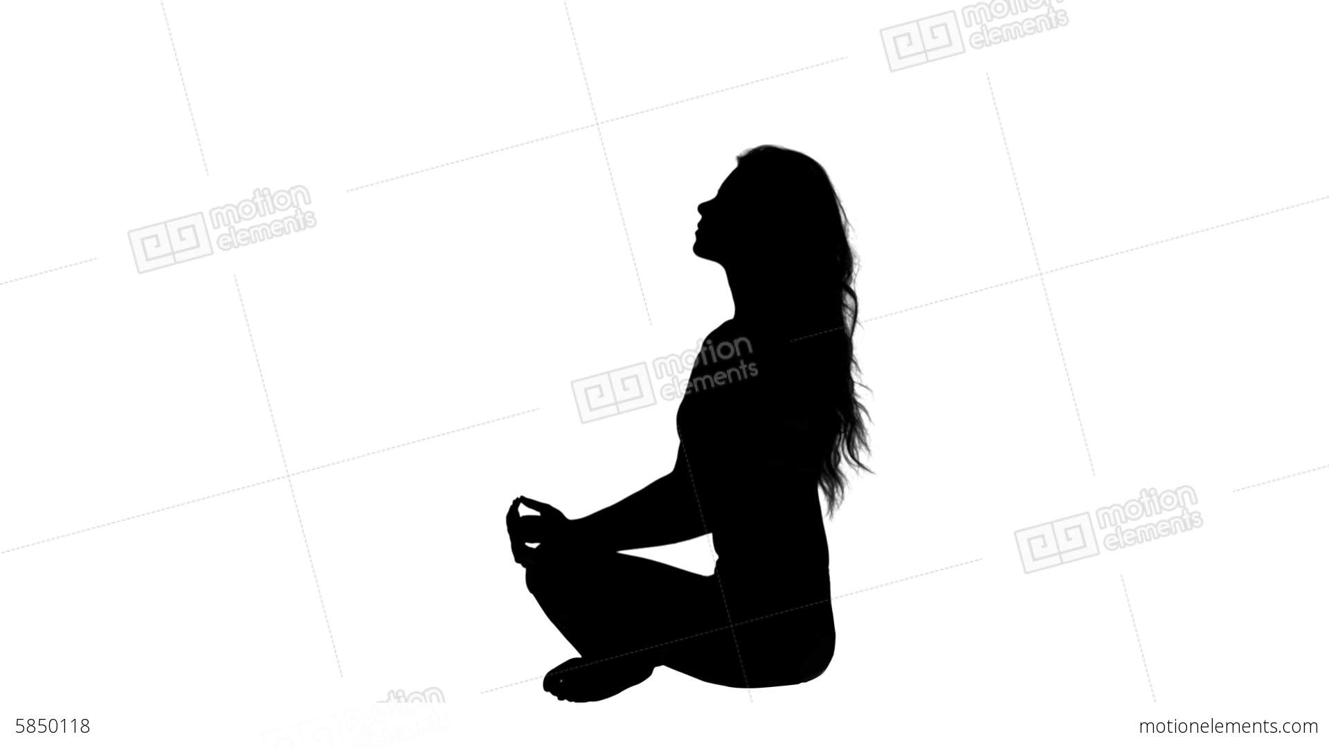 1920x1080 Pretty Woman Sitting In Lotus Pose Silhouette Stock Video Footage