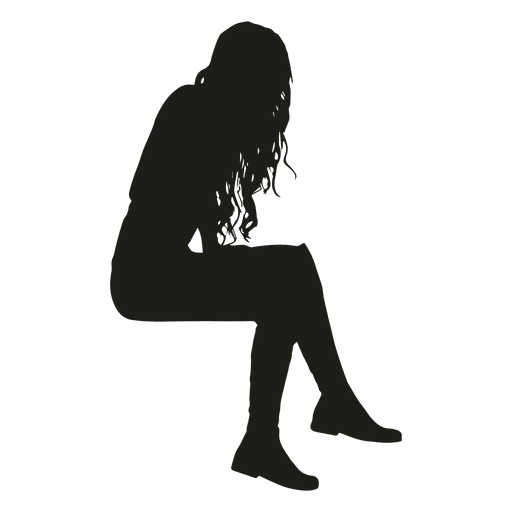 512x512 Woman Sitting Silhouette Sitting Silhouette