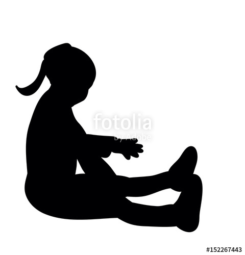 480x500 Isolated, Silhouette Little Girl Sitting Stock Photo And Royalty