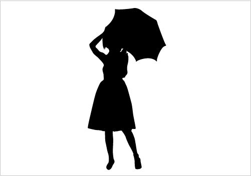 501x352 Girl With Umbrella Silhouette Vector Download Silhouette Graphics