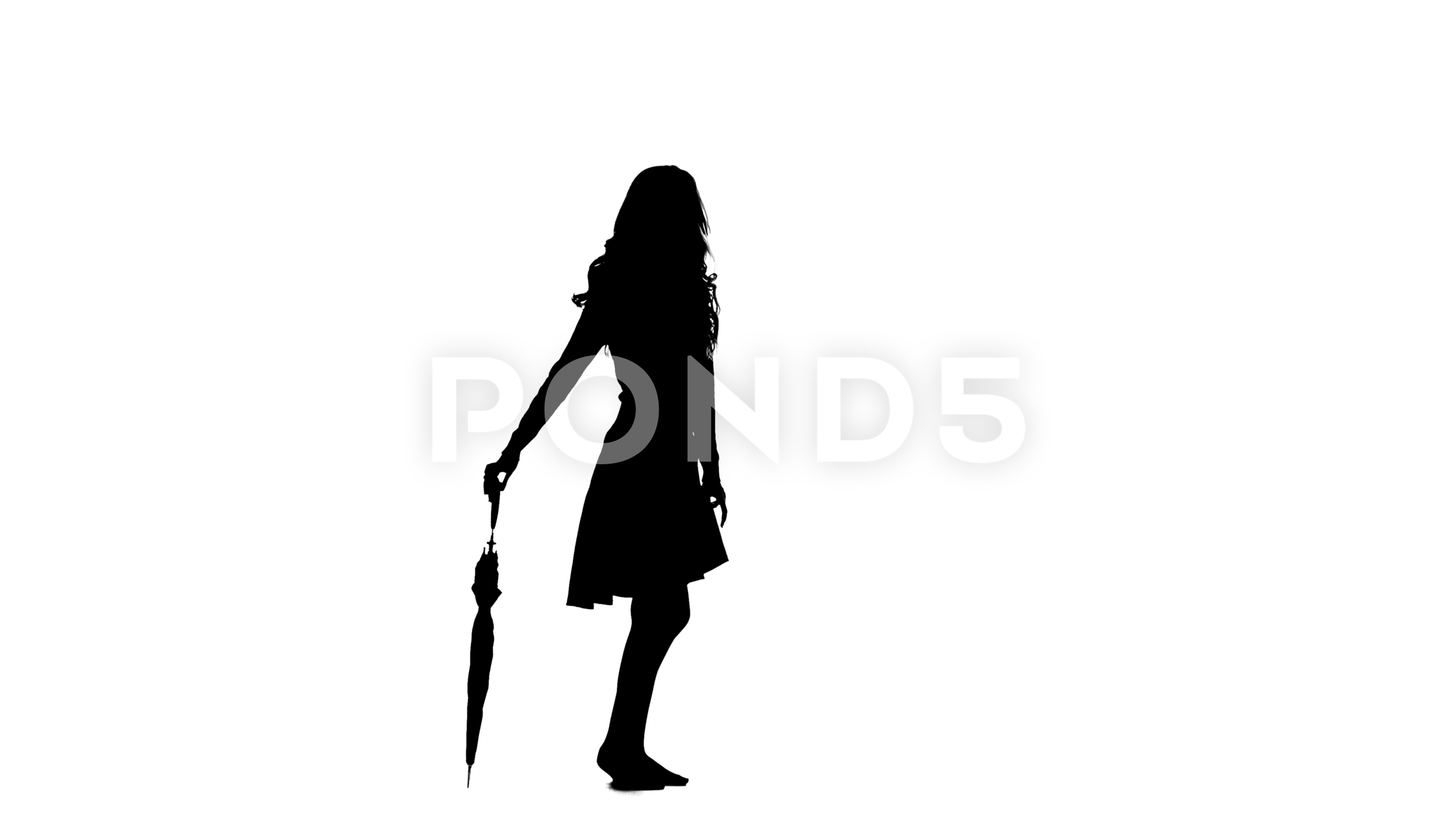 3840x2160 Girl With The Umbrella Turns Around. White Background. Silhouette