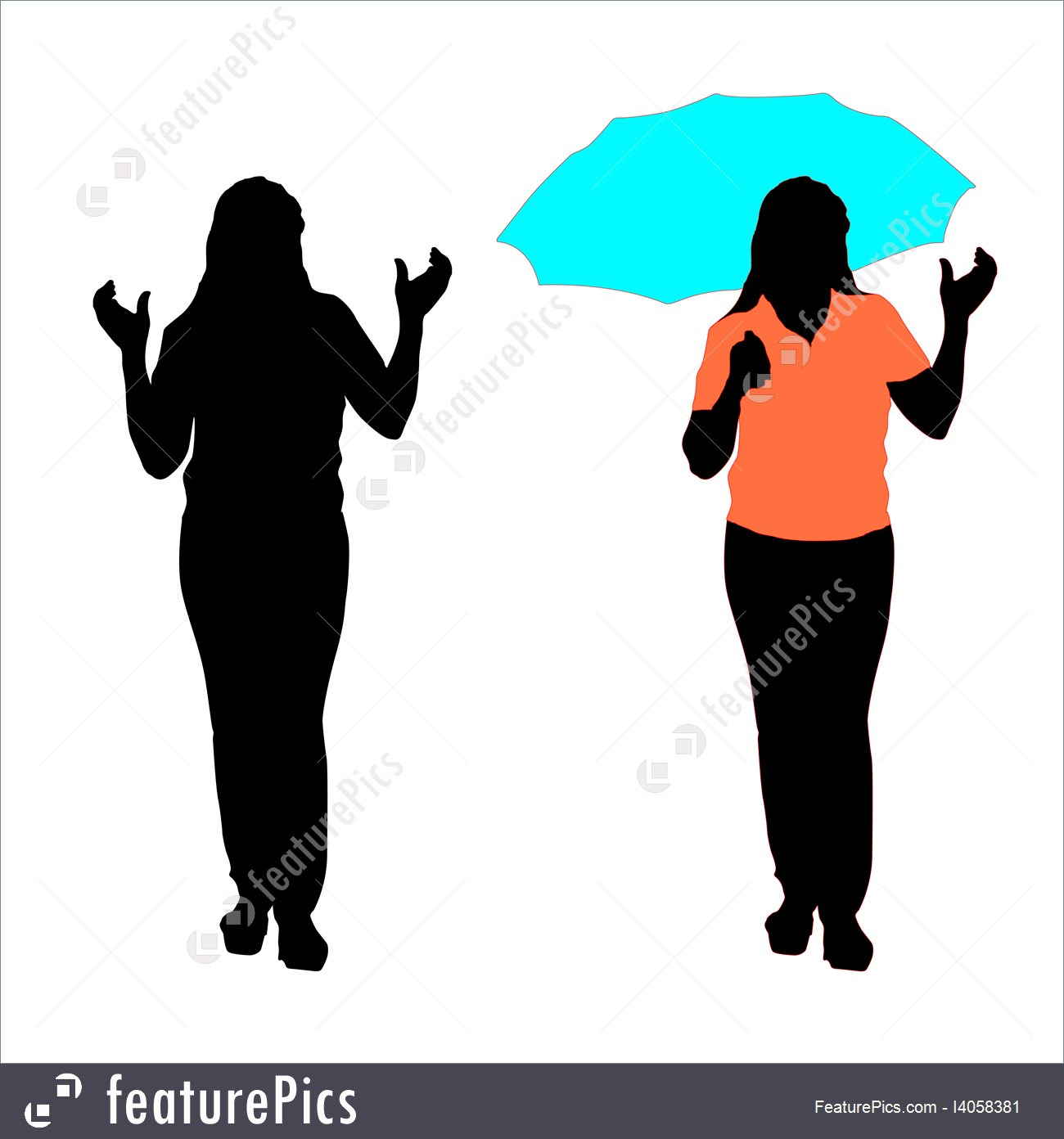 1300x1392 Silhouette Of Girl With An Umbrella Vector Stock Illustration