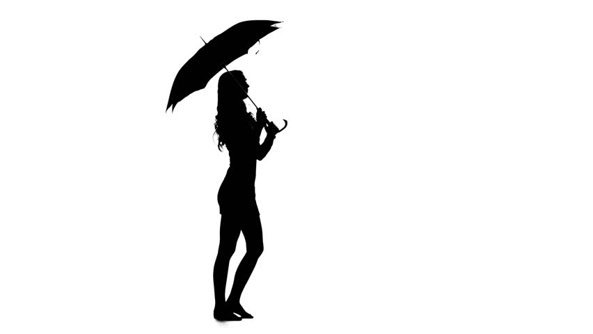 852x480 Woman Opened The Umbrella. White Background. Silhouette Stock