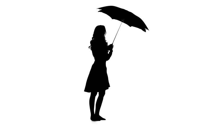 852x480 Girl With An Umbrella In Her Hands Is Talking On The Phone. White