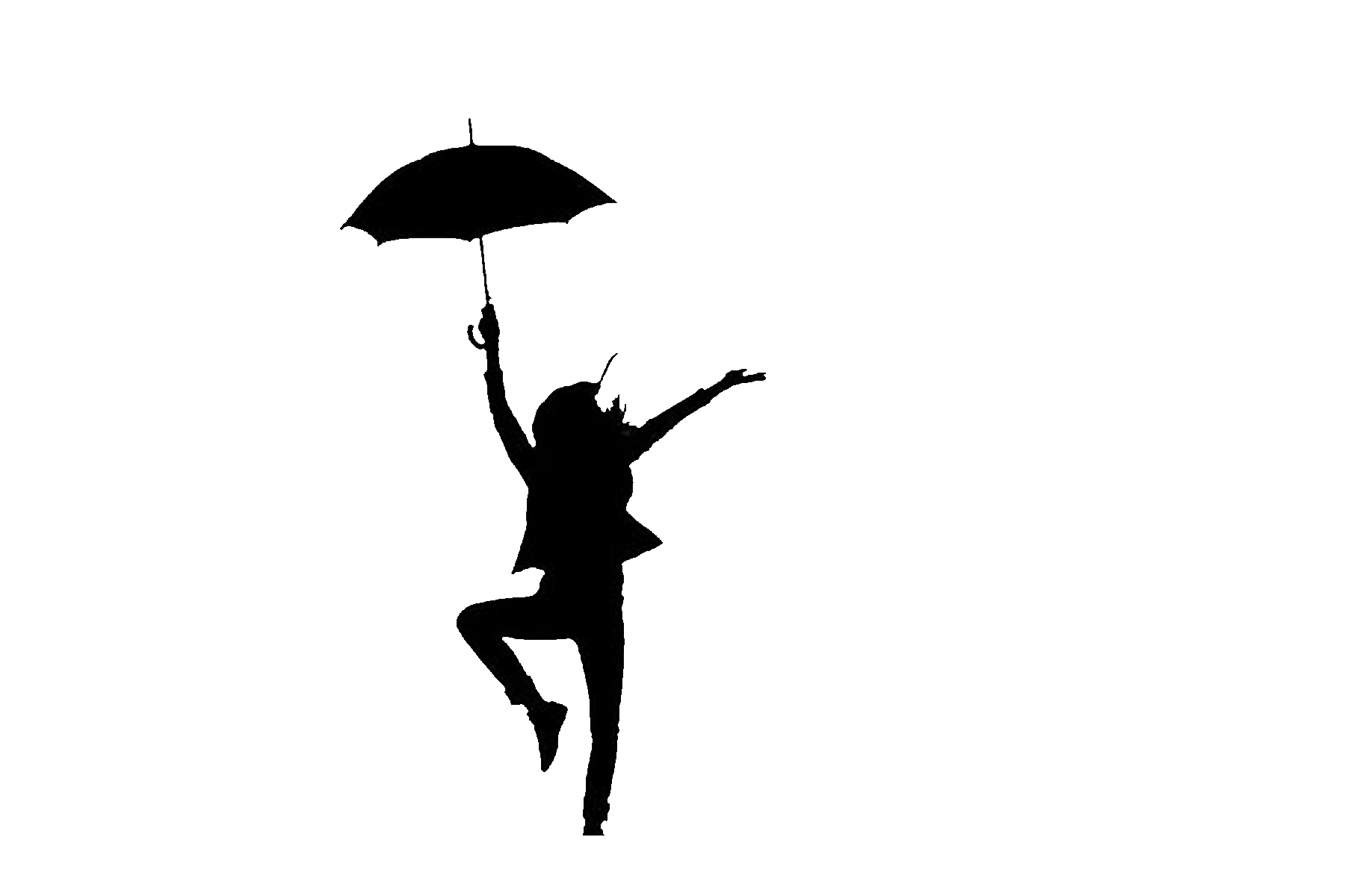 1800x1200 Girl Standing With Umbrella Silhouette 11382