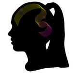160x152 Black Silhouette Of A Girl's Head Stock Image And Royalty Free