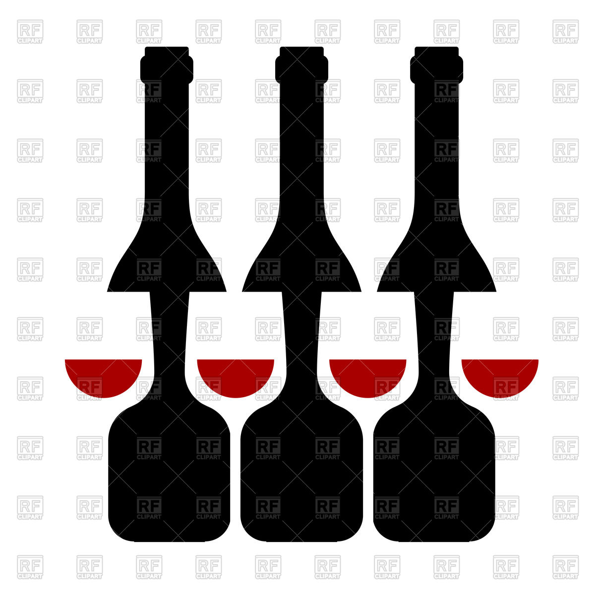 1200x1200 Row Of Wine Bottles And Glass Silhouette Royalty Free Vector Clip