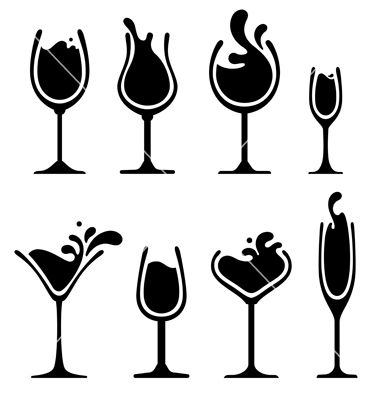380x400 Silhouette Of Wine Glass With Splash Vector By Valru