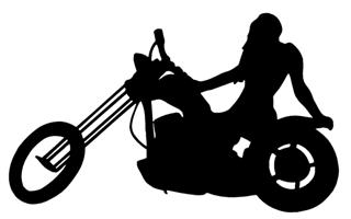 320x200 Girl On Chopper Silhouette Decal Sticker