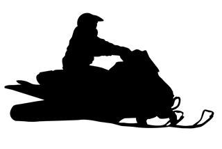 320x214 Snowmobile Silhouette 8 Decal Sticker