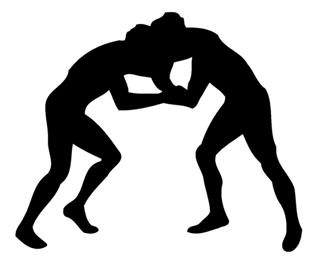 320x266 Wrestling Silhouette Decal Sticker