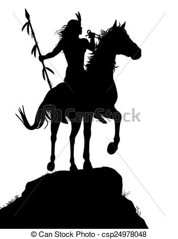 350x470 Horseback Indian. Eps8 Editable Vector Silhouette Of A Eps