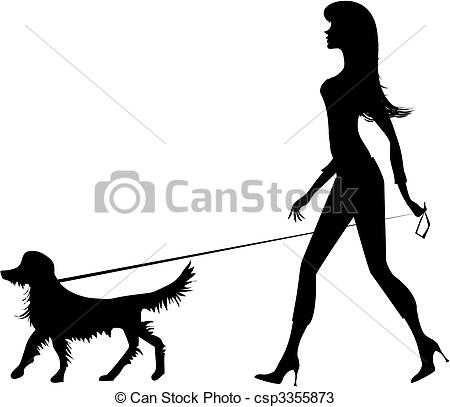 450x407 Silhouette Of A Girl And A Dog. Girl Walking With A Dog Vectors