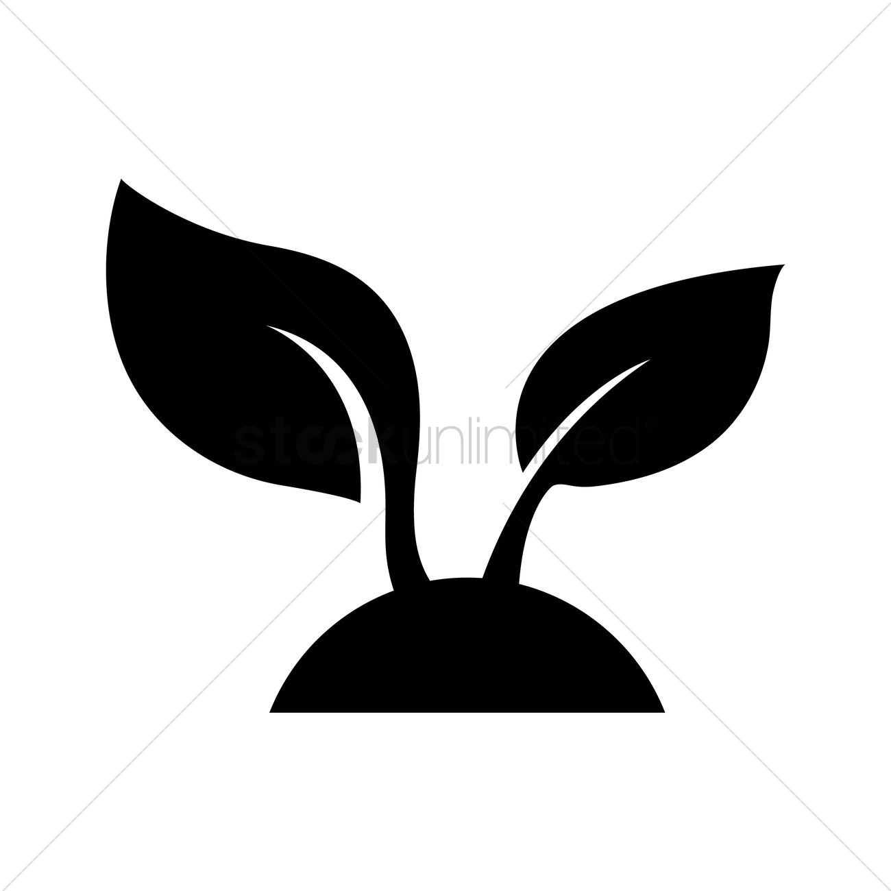 1300x1300 Silhouette Of A Sprout Vector Image