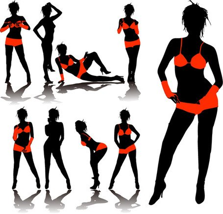 455x437 Underwear Model Silhouette, Vector Graphic