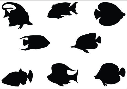 501x352 Awesome Fish Silhouette Vectors Added Here For Fish Graphic Design