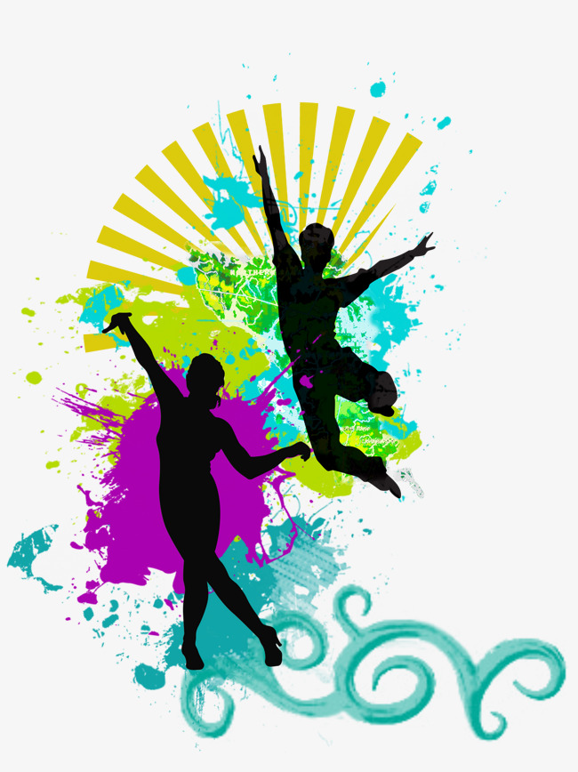 650x868 Colored Background Dancing Silhouette, Sketch, Colored Background