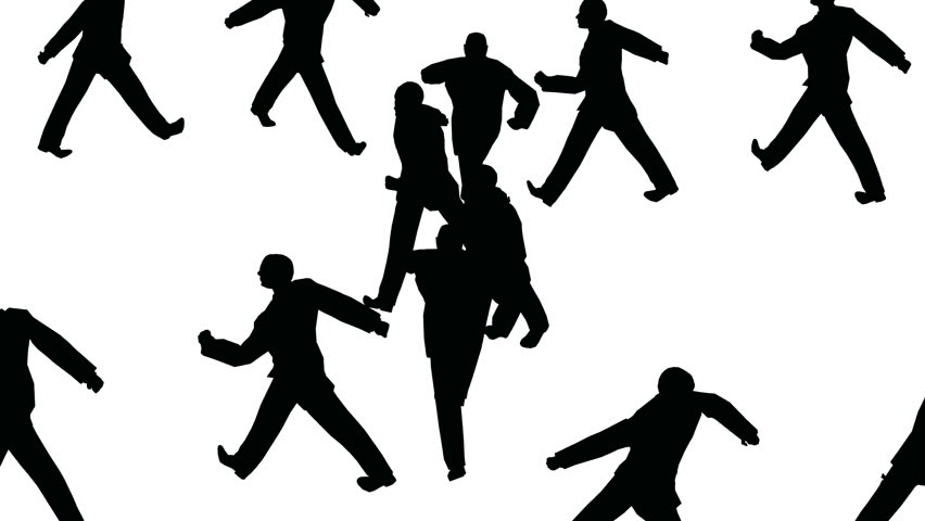 852x480 Silhouette Group Of People Marching In Circles Close Up Isolated