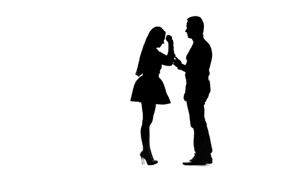 590x332 Guy With The Girl Swear And Then They Hug. Silhouette. White