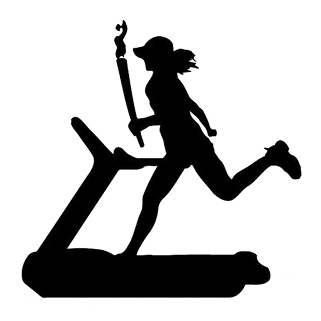 640x640 14.7cm14.7cm Interesting Gym Girl Jogging Sport Blacksilver