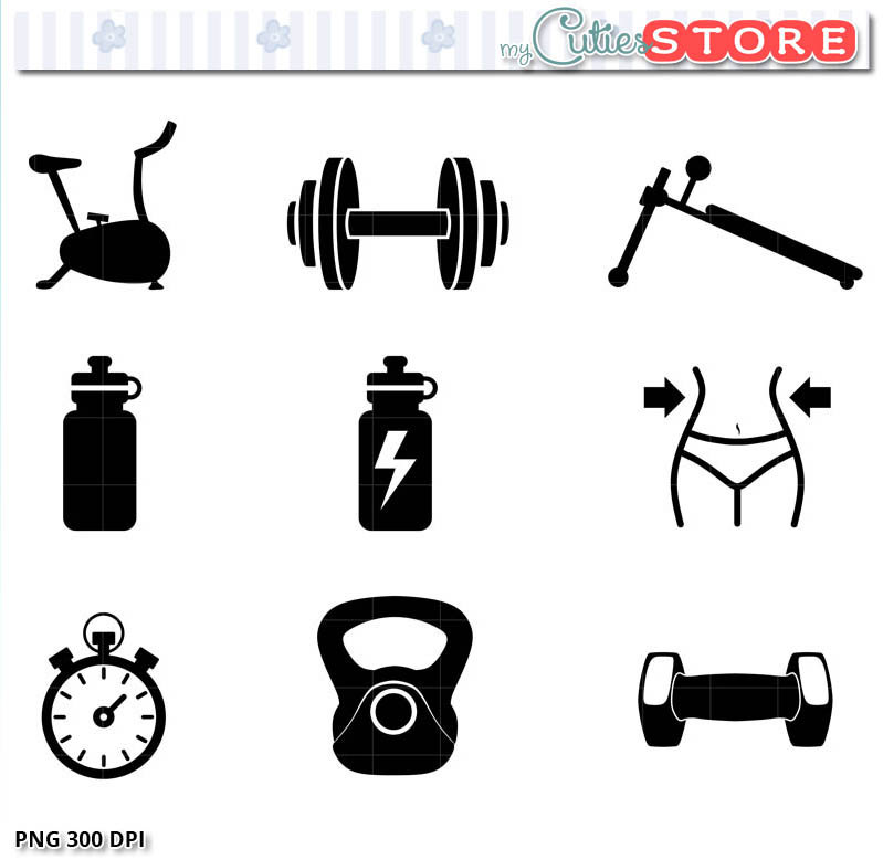 799x777 Workout And Fitness Icon Set Clipart. Silhouette Gym Clip Art