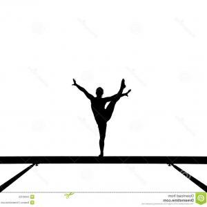 300x300 Stock Photo Black Silhouette Girl Gymnast With Ribbon Rhythmic