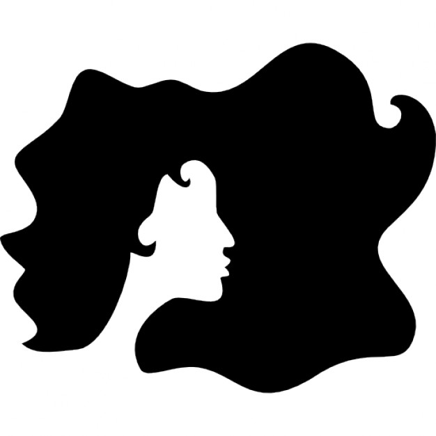 626x626 Curled Black Long Female Hair Shape Icons Free Download