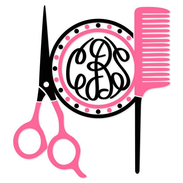 600x600 Free Hairdresser Monogram Hairdresser Hair Salon Monogram Frame