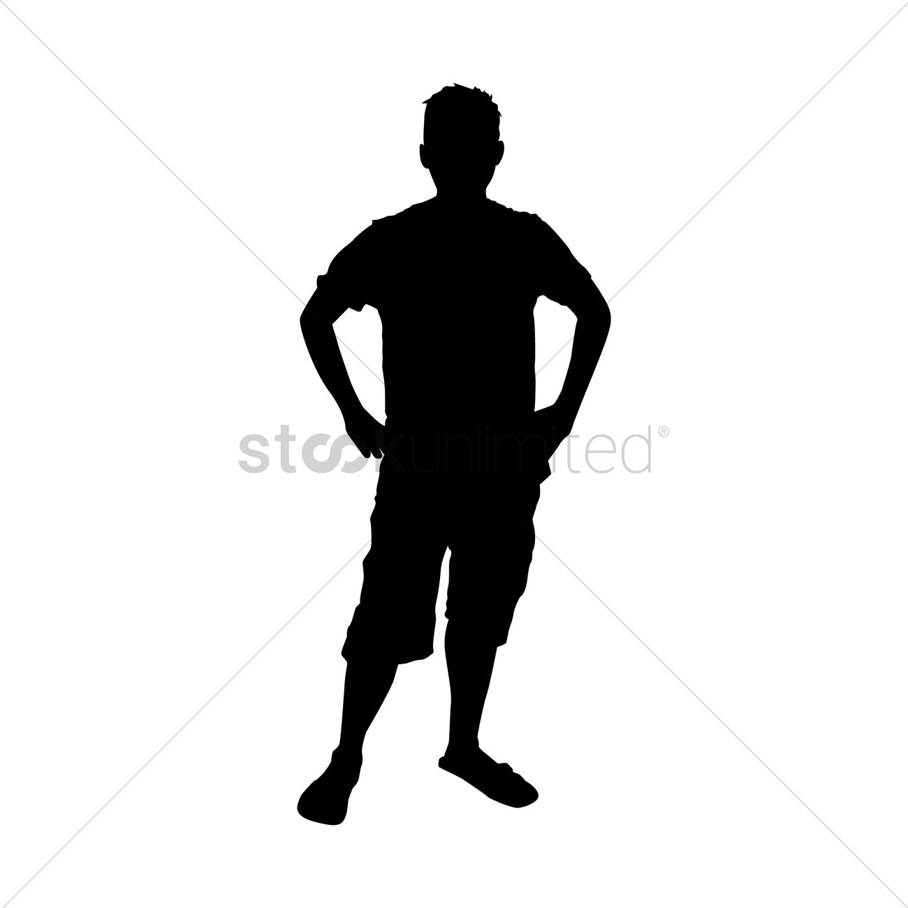 1300x1300 Silhouette Of Man Standing With Hands On Hips Vector Image