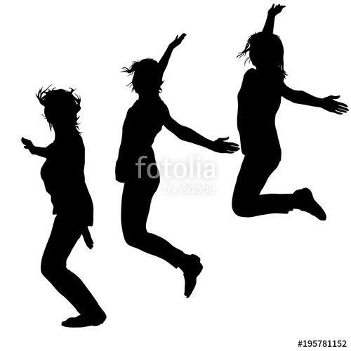 500x500 Silhouette Of Three Young Girls Jumping With Hands Up, Motion