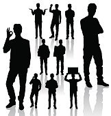 162x170 Business Man Silhouette Excited Hold Hands Up Premium Clipart