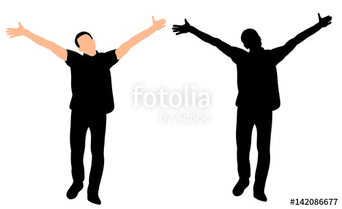 500x306 Silhouette Of The Man Is Happy, Hands Up Stock Image And Royalty