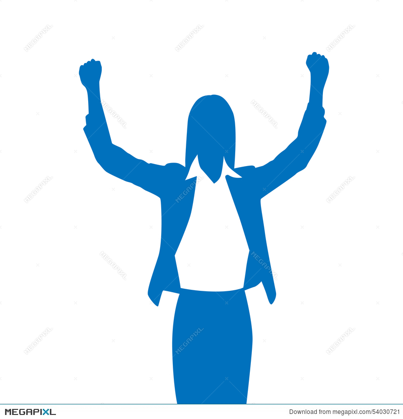 800x830 Business Woman Silhouette Excited Hold Hands Up Illustration