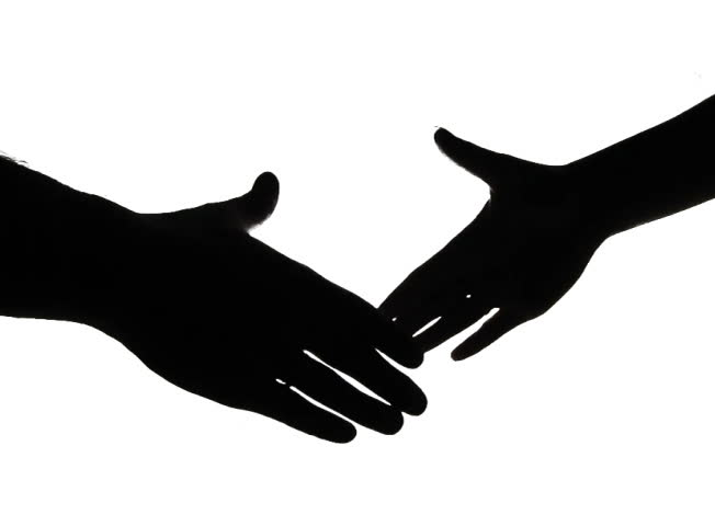 652x480 Hand Shake Man Woman In Silhouette Lighting Isolated Black