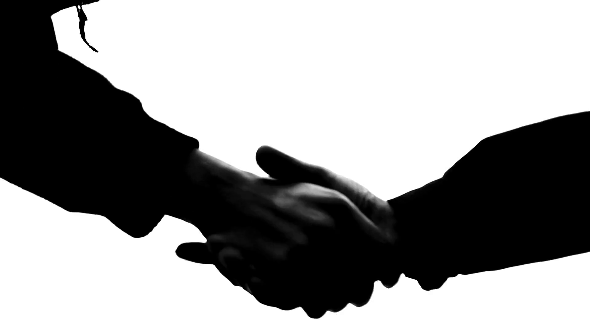 1920x1080 Black And White Silhouette Handshake 50 Fps Stock Video Footage