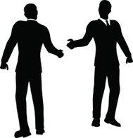 189x197 Handshake White Silhouette With Black Contour On Orange Background