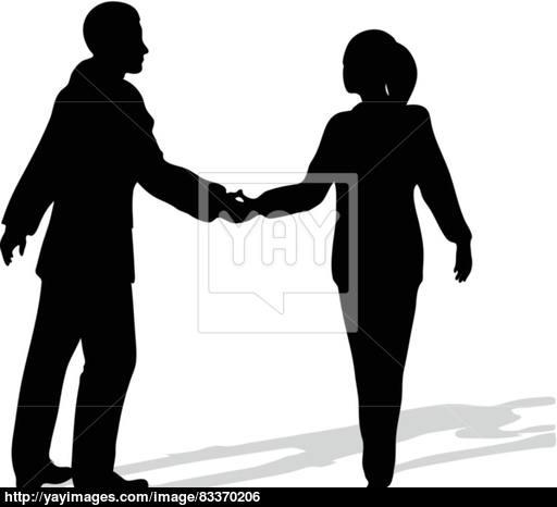 512x466 Handshake Of Business People Standing Up In Silhouette Vector