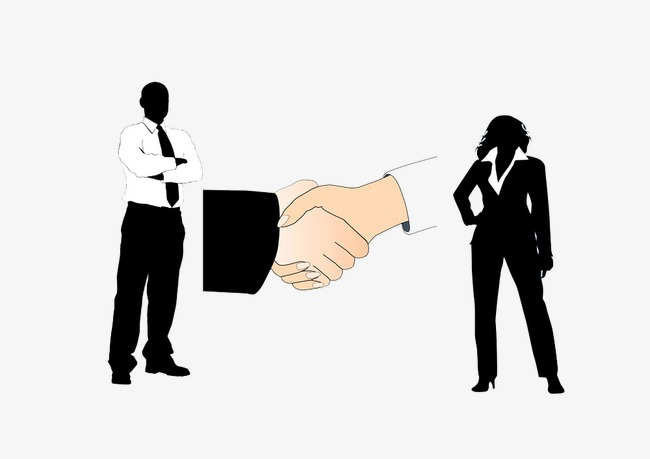 650x459 Male And Female Silhouette Figures And Handshake Picture