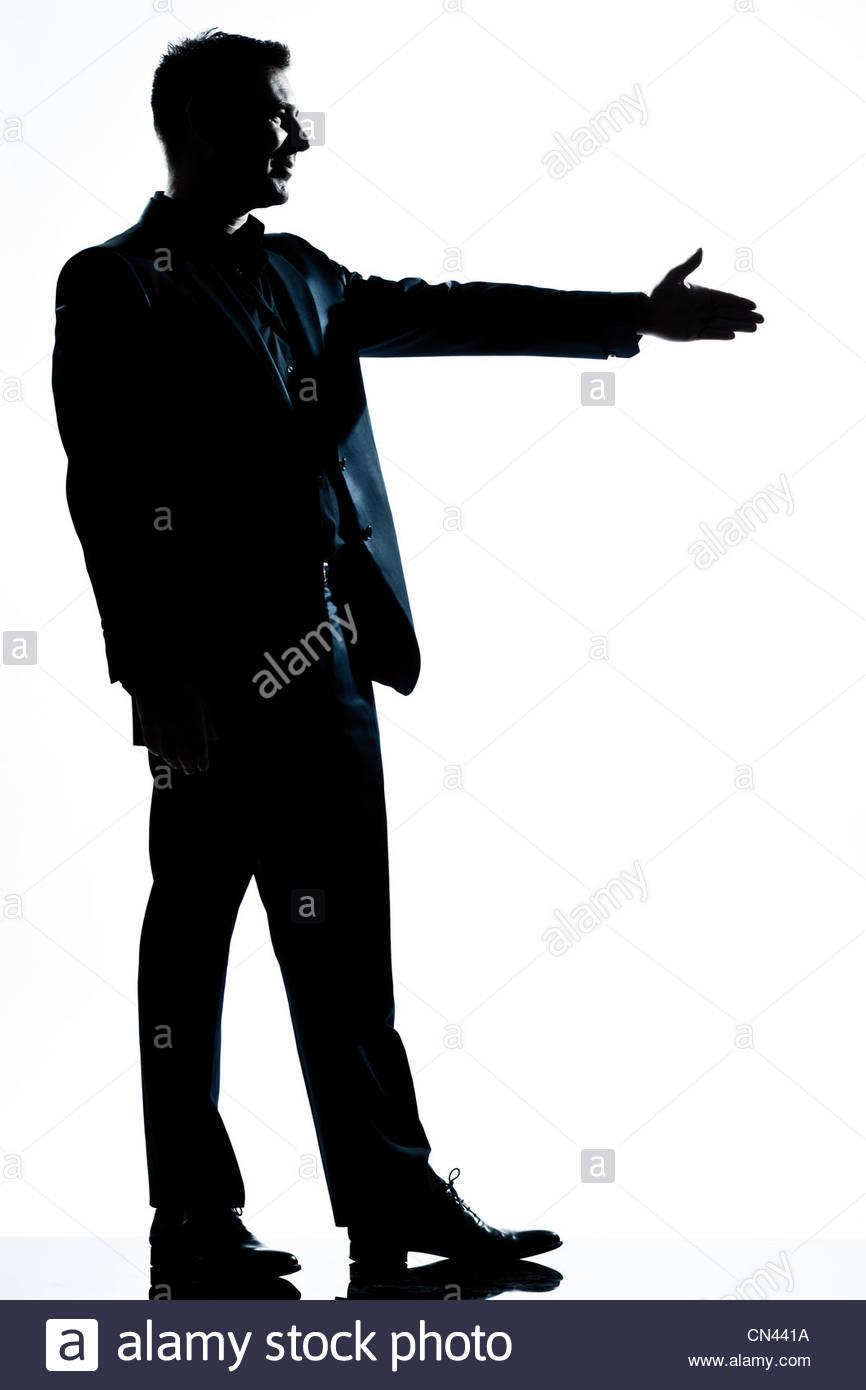 866x1390 One Caucasian Man Handshake Profile Full Length Silhouette