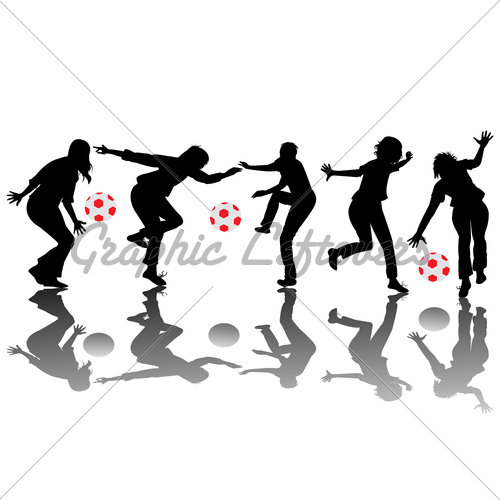 500x500 Happy Children Silhouettes Playing With Balls Gl Stock Images