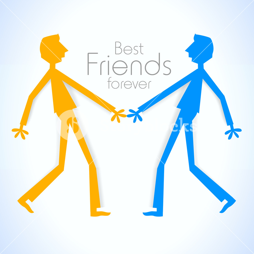 1000x1000 Happy Friendship Day With Colorful Silhouette Of Friends On Blue