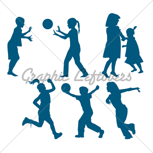 500x500 Happy Kids Silhouettes Playing Gl Stock Images